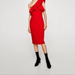Zara one shoulder holiday midi dress